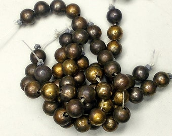 Rustic Vintage Metal Beads - 12 Dark Gold TOne Round Beads - Oxizided Metal Beads - 1980s Monet Harvest - Tarnished Bronze GOld Patina
