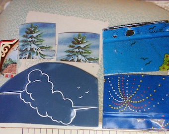 Salvaged Tin Cuts - 1 Ounce - 6 Pieces - Mixed Blue Sky Seasons - Smoothed Edges - Blue, Clouds, Trees, Birds - Raw Tin 4 Jewelry - no. 15
