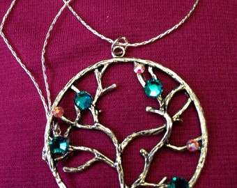 Swarovski crystal tree of life necklace with sterling silver plated chain