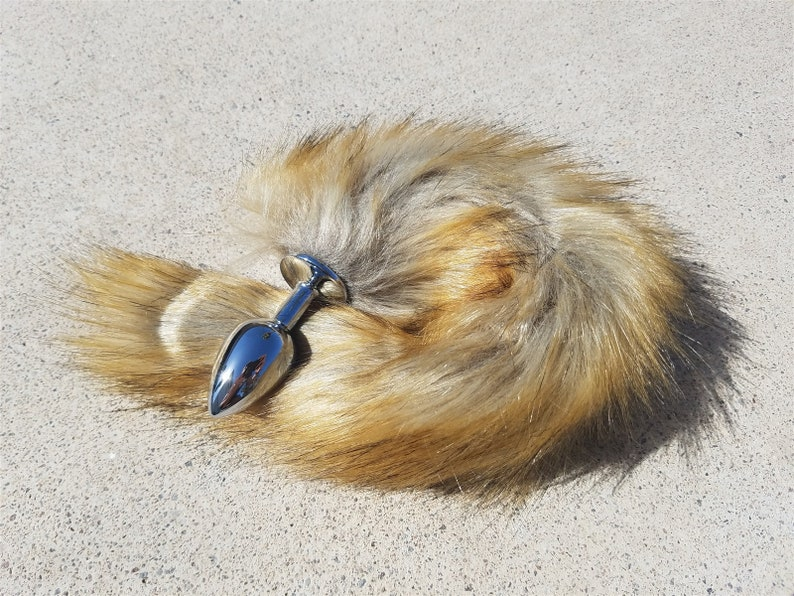 Fox Tail Butt Plug  Stainless Steel with Large Faux Fox Tail image 0
