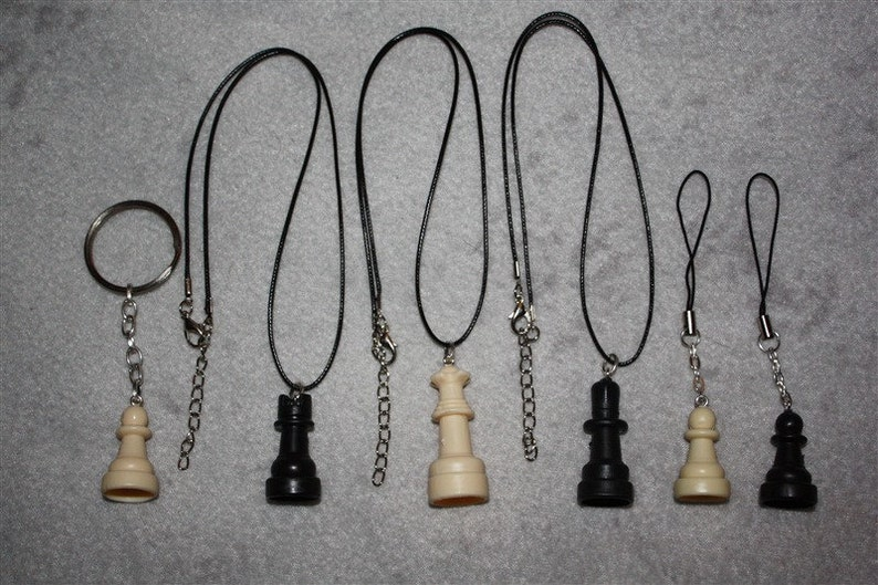 Chess Piece Accessories  Necklace Cell Charm Keychain image 0