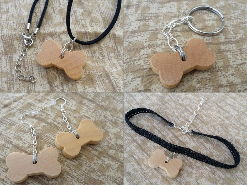 Wooden Dog Bone Accessories  Necklace Choker Earrings image 0