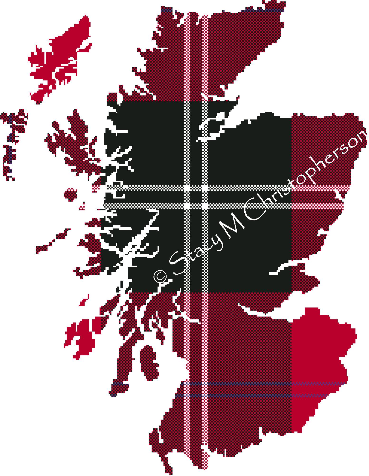 Scottish Tartan cross stitch pattern - Scotland Map