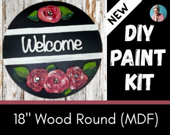 Welcome Sign - Wood Paint Kit- DIY- Outline - 18 inch - Paint Party- Paint and Sip - Crafts - Flowers - Christmas - Leaves - Door Hanger