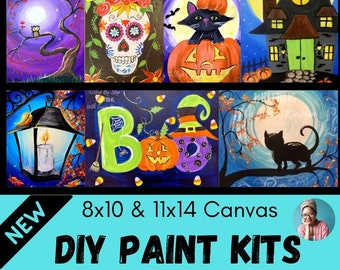 Canvas Panel Paint Kits- DIY- Outline - Paint Party- Paint and Sip - Party Favor - Crafts - Art - Fall - Christmas - Halloween