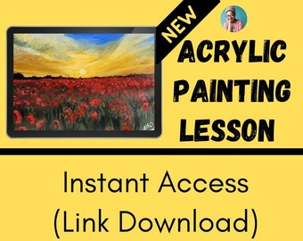 VIDEO PAINTING LESSON - instant - flower field - acrylic painting - tutorial - liz brent - poppies - red - learn to paint - professional