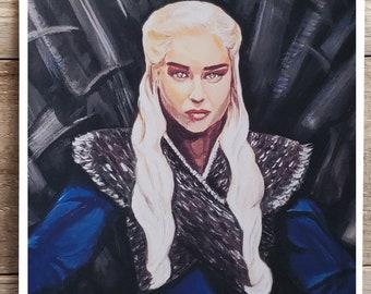 Art Print- Game of Thrones Fan Art - 8 x10 - Daenerys Targaryen- Queen- Iron Throne