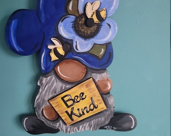 Wood Door Hanger -Gnome  Summer Door Hanger - Gnome - Gift - Craft