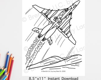 INSTANT DOWNLOAD PRINTABLE - Coloring Sheet - Jet - Military - Flying - Plane - Veteran - Traceable -Airforce