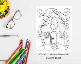 INSTANT DOWNLOAD PRINTABLE - Coloring Sheet - Tracer - Gingerbread House - Christmas - Traceable- Candy Cane- Candy House
