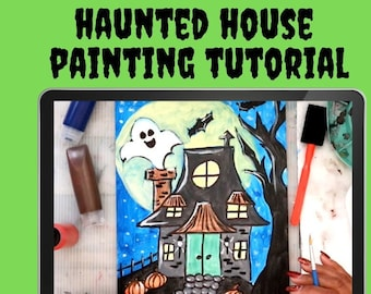 VIDEO PAINTING LESSON - instant -haunted house - acrylic painting - tutorial - liz brent -halloween - learn to paint