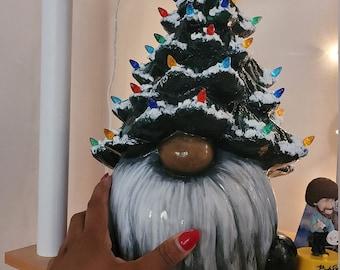 Christmas Tree Gnome - Ceramic - 13 inch - Snow - Santa - Holiday - Painted - Decorative Lights - Light Up