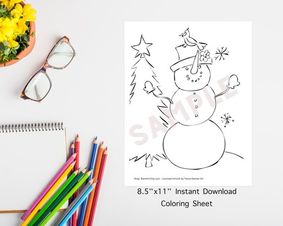 INSTANT DOWNLOAD PRINTABLE  Coloring Sheet  Tracer  Snowman