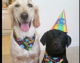 Tie-on Dog Bandana Happy Birthday  - XSmall/Small/Medium/Large/XLarge