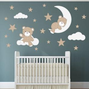 Cute Teddy Bear Avion Nuages Nursery Wall Art Autocollant Vinyle Cadeau Autocollant V255