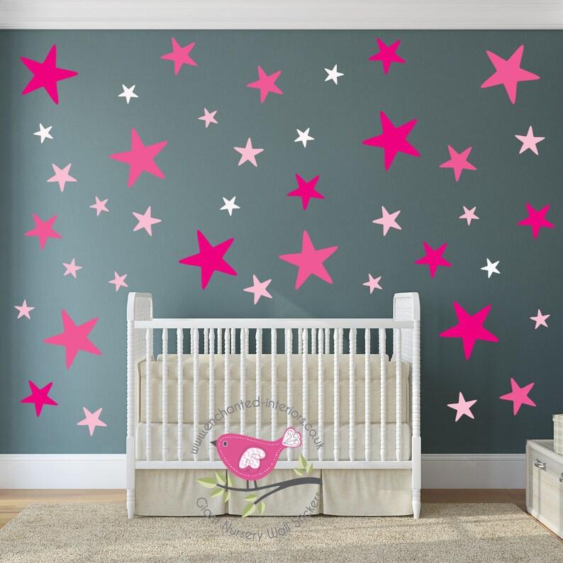 Behang Stickers Kinderkamer.Sterren Stickers Kinderkamer Muur Stickers Roze Baby Decor Etsy