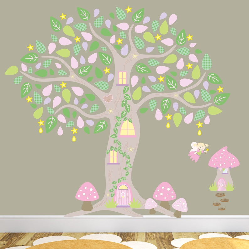 7c0e67f713 Woodland Forest Decal Girls Enchanted Wall Stickers Pink and | Etsy