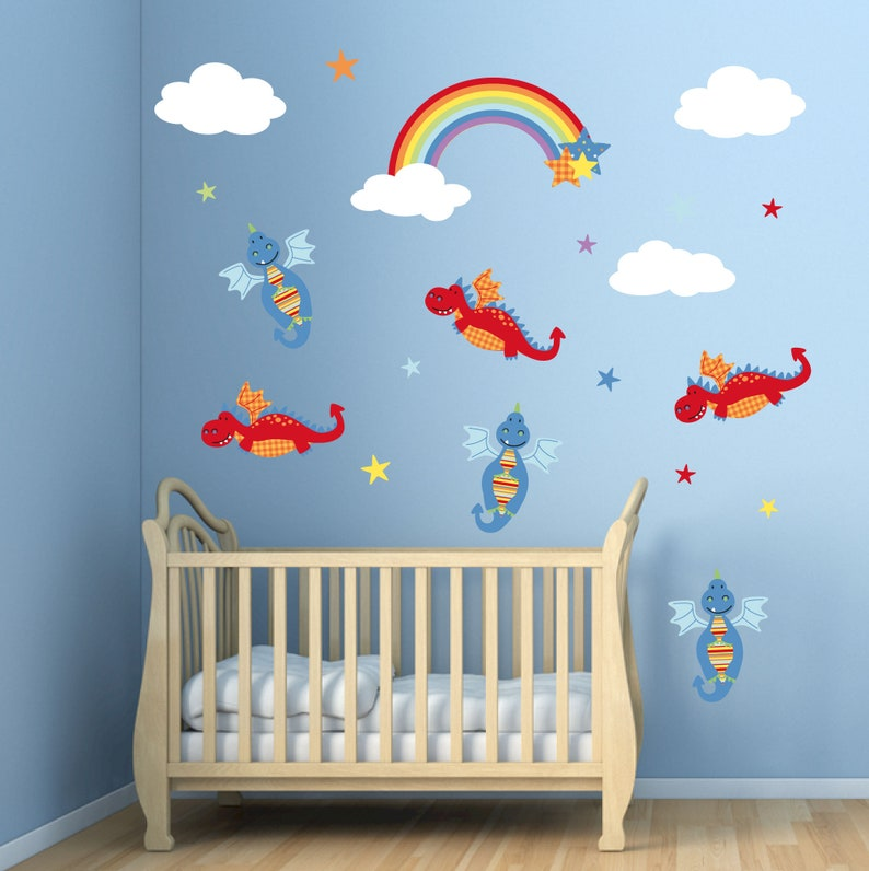 dragon decal rainbow wall stickers stars and clouds baby | etsy