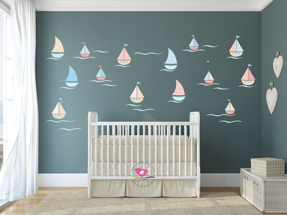 Sailing Boat Wall Decals, nautical nursery baby decor, wall art stickers,  boys wallpaper, toddler room, Summertime, Ocean Waves, Blue, coral