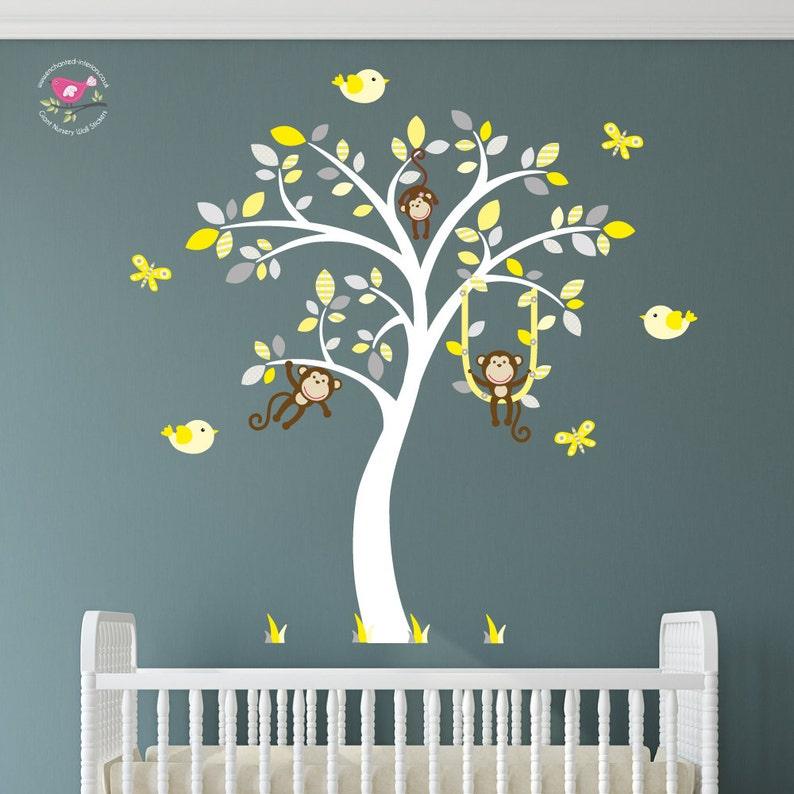 Jungle Wall Sticker Elephant Parrots Monkey Palm Boys Girls Bedroom Decal