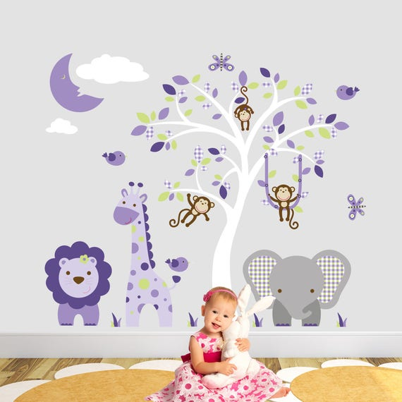 safari decal ultra violet & green wall stickers. swinging | etsy