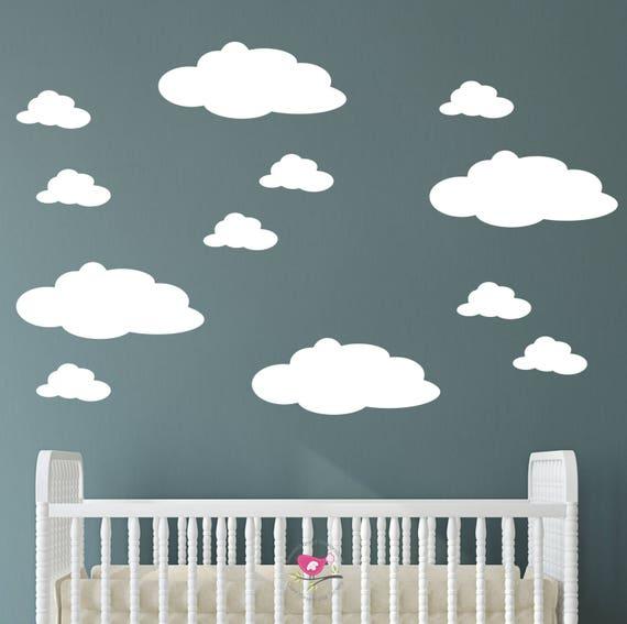 nursery cloud wall decals fluffy magical white wall stickers | etsy