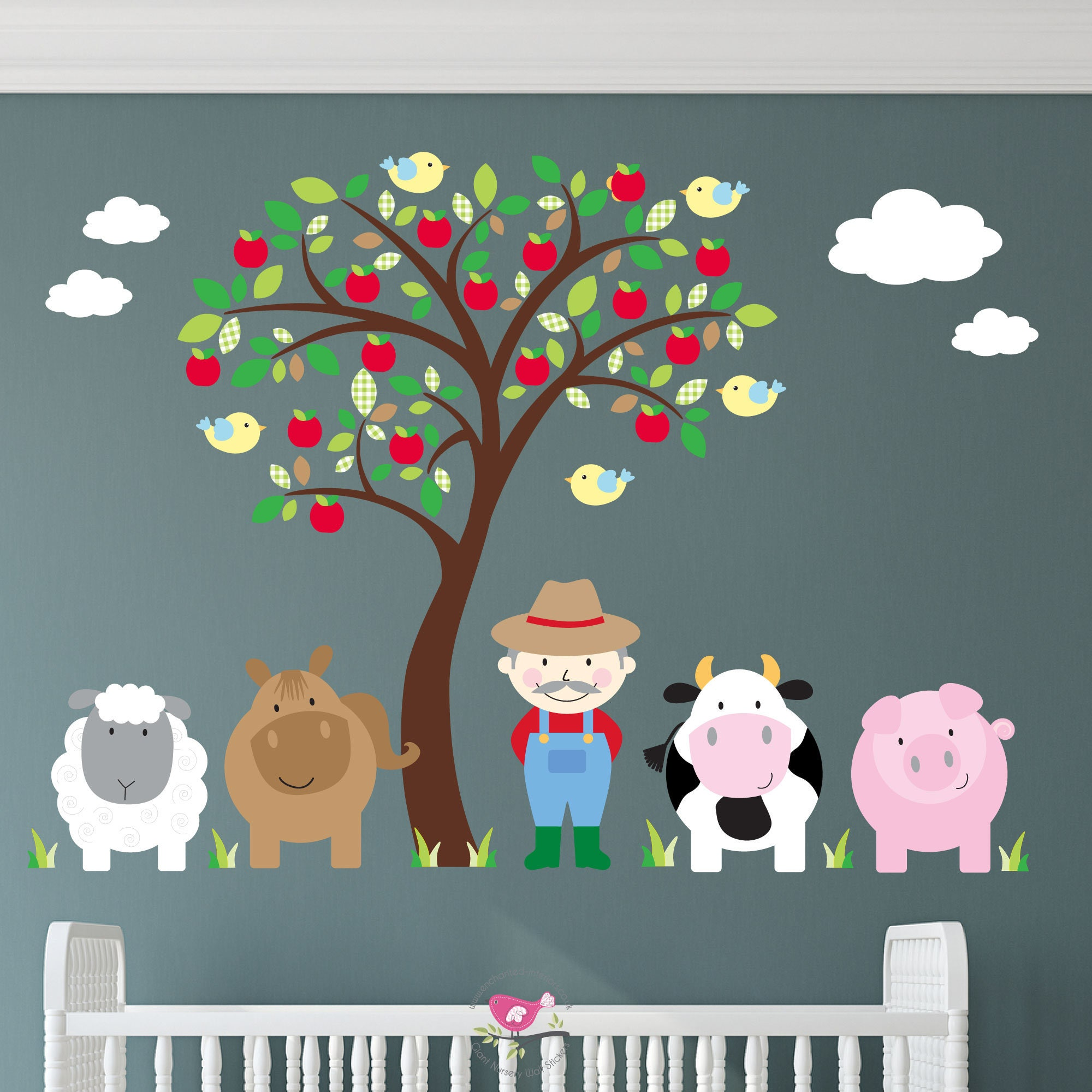Farm Wall Decal Brown Apple Tree Mural Gender Neutral Etsy