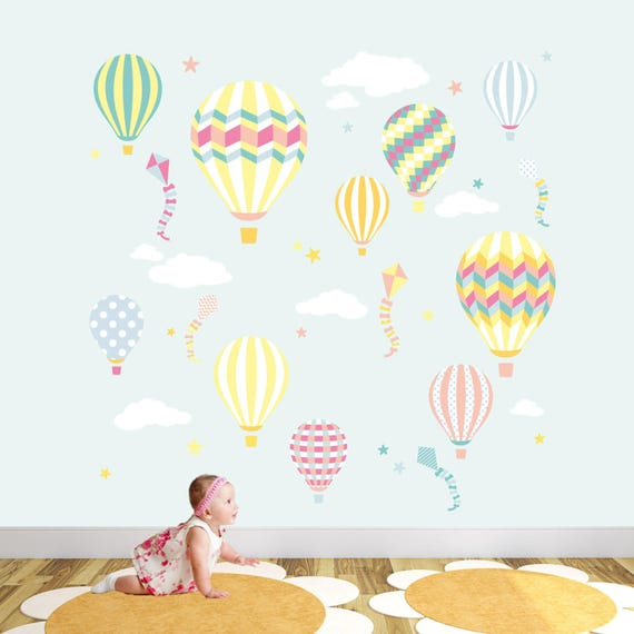 Wall stickers Kids Baby Children/'s Koala Bear Balloon stickers Air Cloud Decal