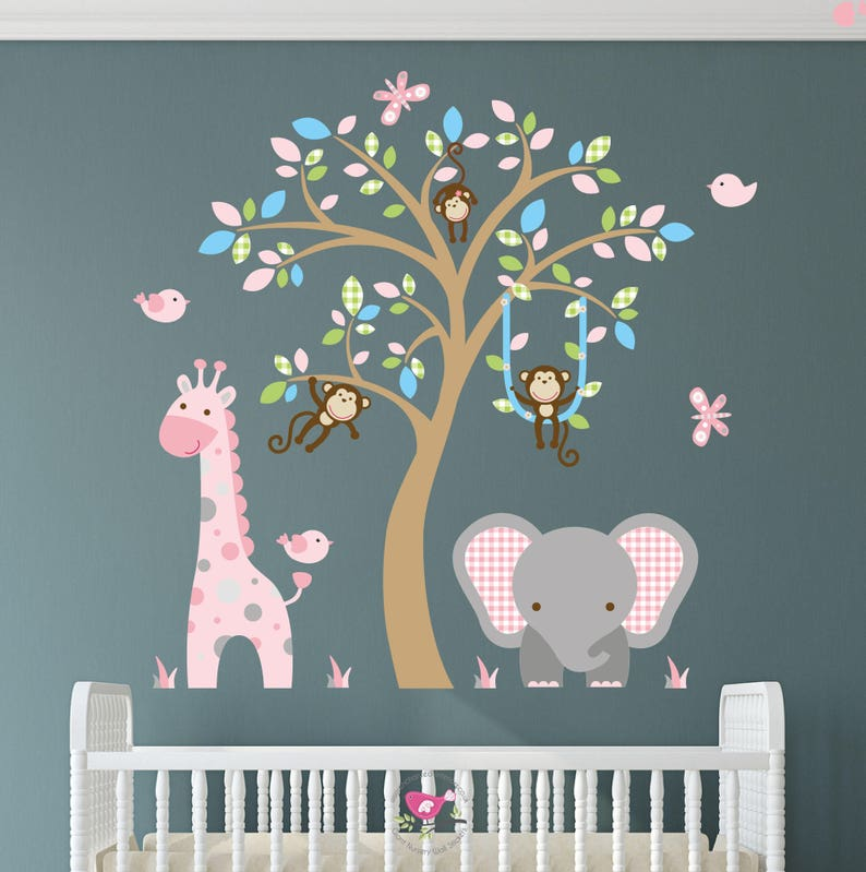 safari decal jungle wall stickers. pink and blue girls nursery | etsy
