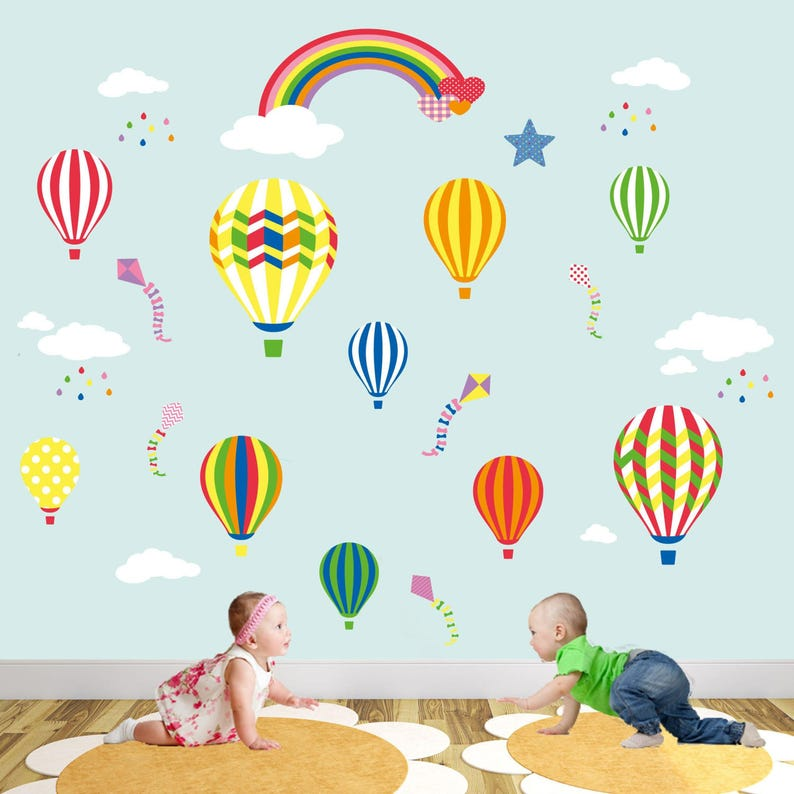 Hot Air Balloon Decal feat  Kites, Clouds and Rainbow  Baby wall stickers  nursery room decor, gender neutral, girls and boys bedroom decor