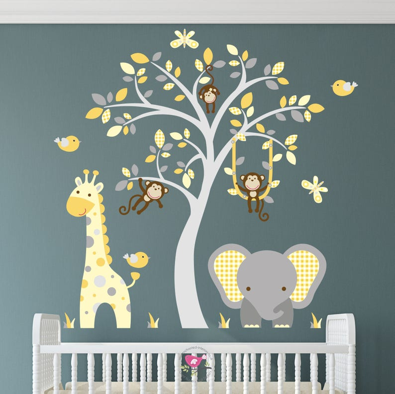 jungle decal safari wall stickers mustard yellow and grey | etsy