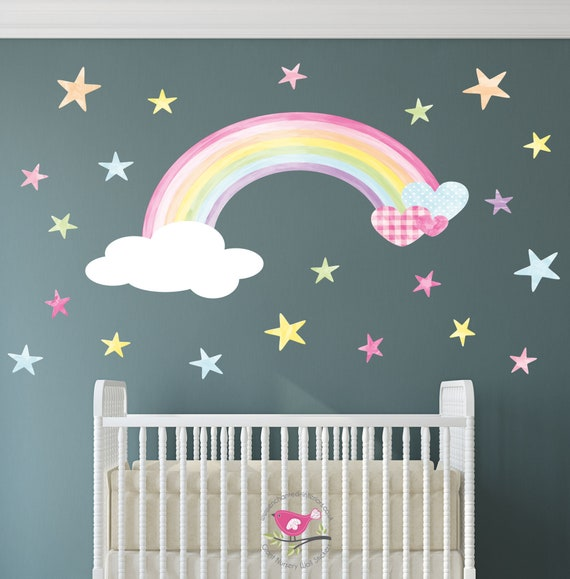 rainbow decal water colour wall sticker pastel hearts | etsy