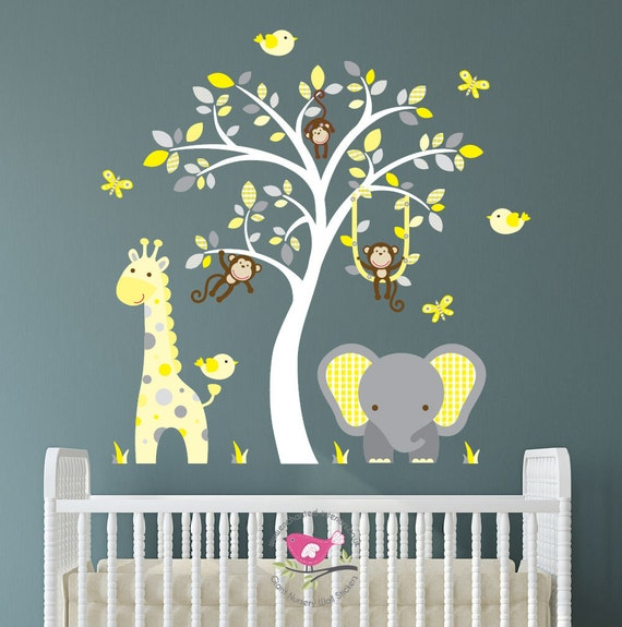 Jungle Animaux Autocollants Muraux Autocollants Stickarounds Bébé Enfants Filles Garçons Chambre