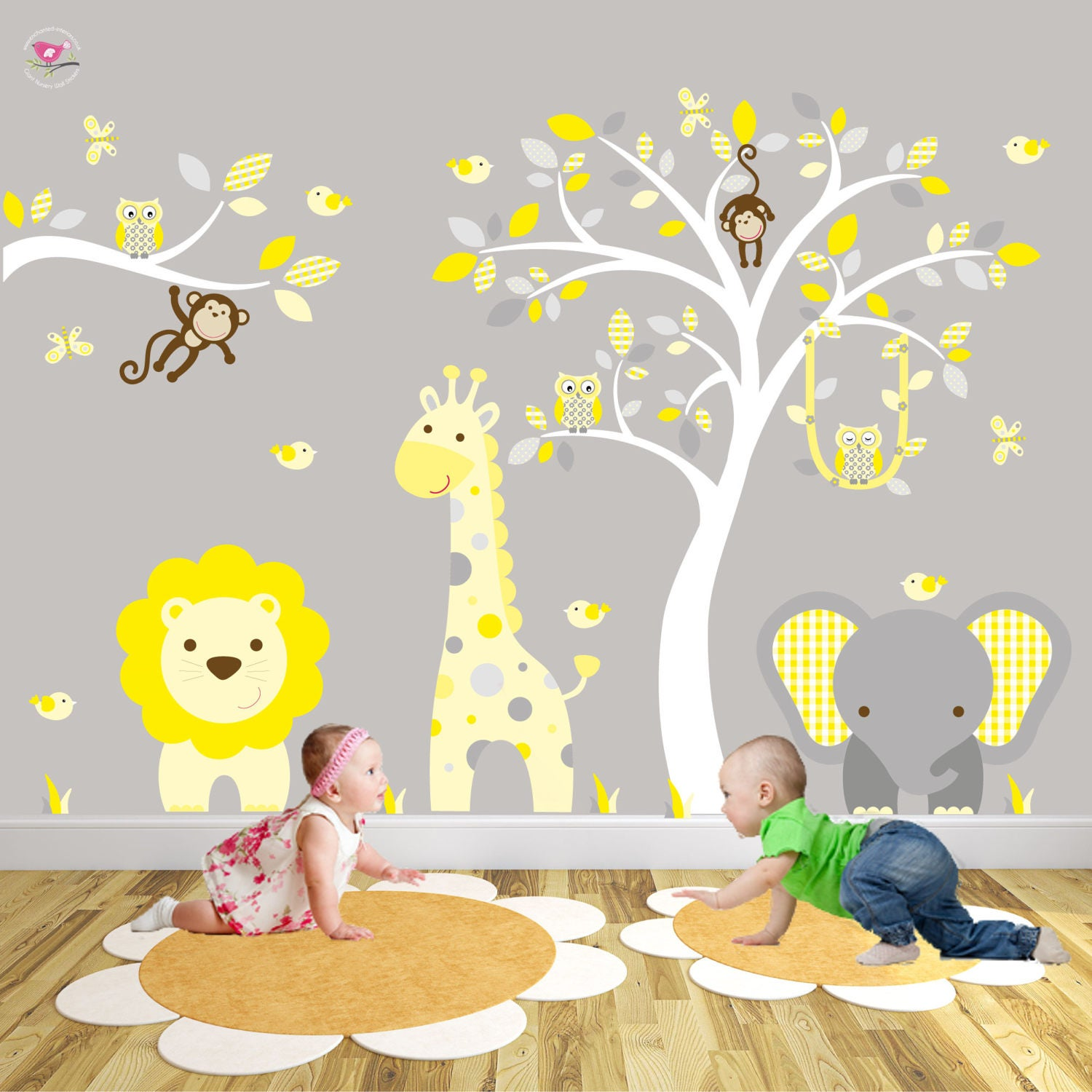 Jungle Nursery Wall Stickers Yellow and Grey Decals. | Etsy
