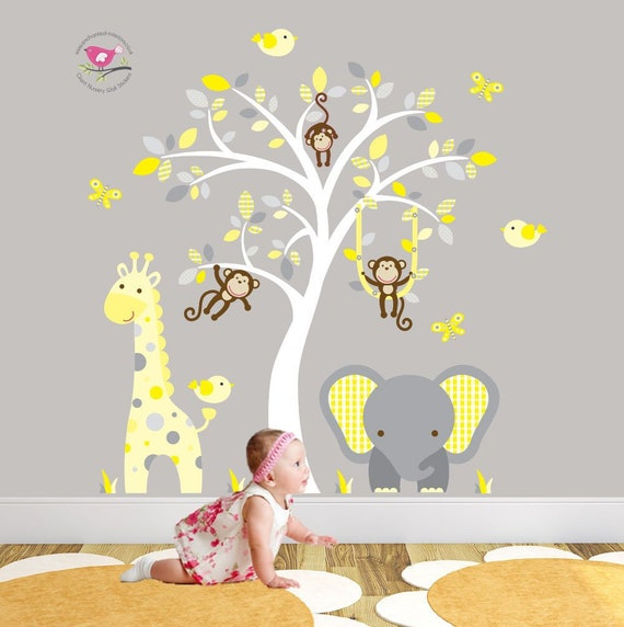 jungle decal gender neutral wall stickers yellow and grey | etsy