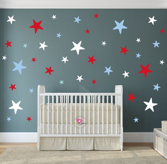 Star decals Red white and blue decor patriotic baby | Etsy