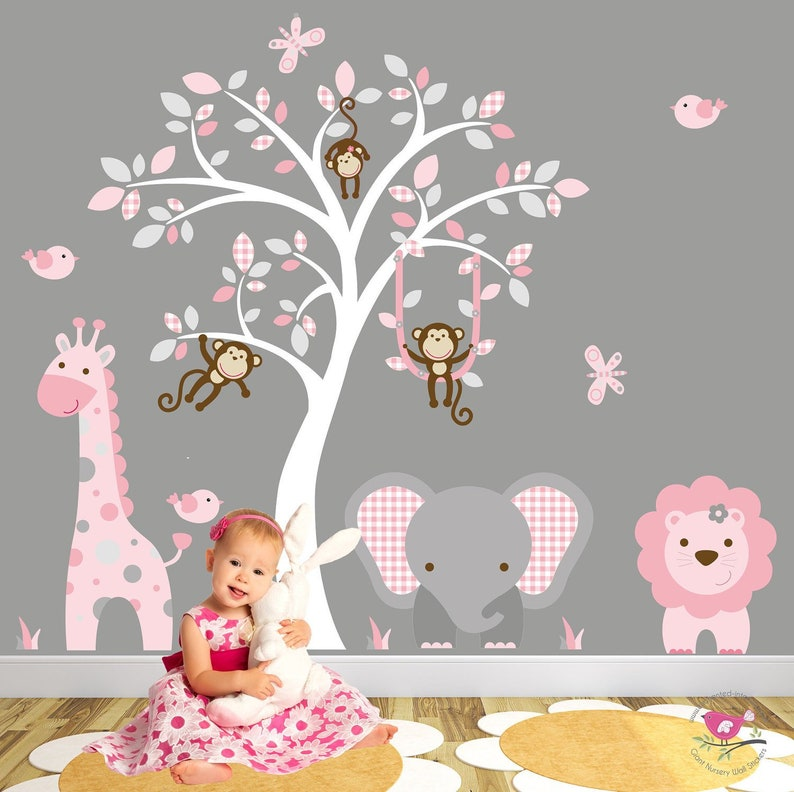 jungle decal blush pink and grey nursery decor. baby girls | etsy