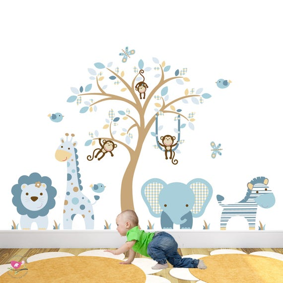 jungle animals wall stickers boys baby blue nursery decals. | etsy