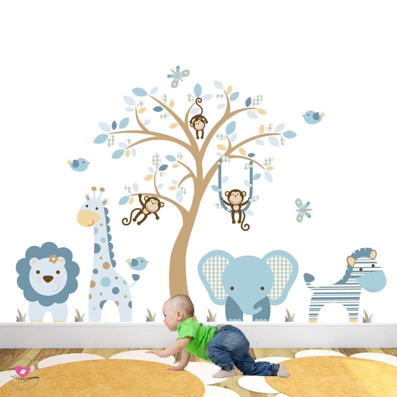 Stickers muraux animaux jungle les garçons bébé bleu chambre | Etsy
