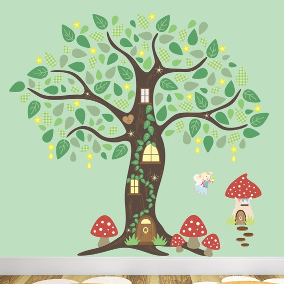 Wall Tattoo Mushroom House in the Fairy Tale Forest with Flowers Wall Sticker