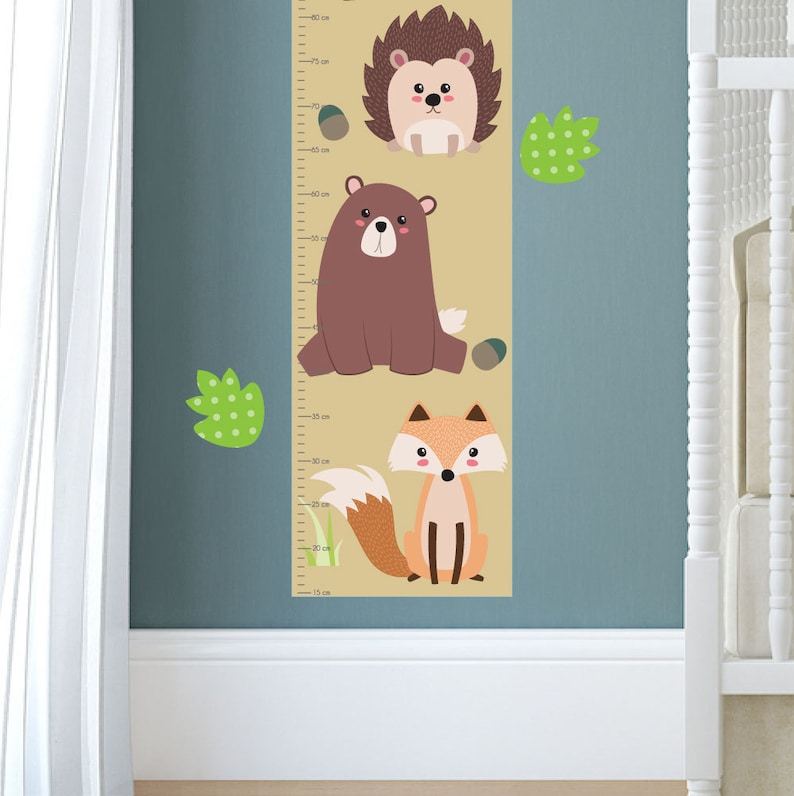 Woodland Height Chart personalized for Children Growth Chart Decal Baby Art Toddler Gift Critter Nursery Decor Forest Wall Stickers