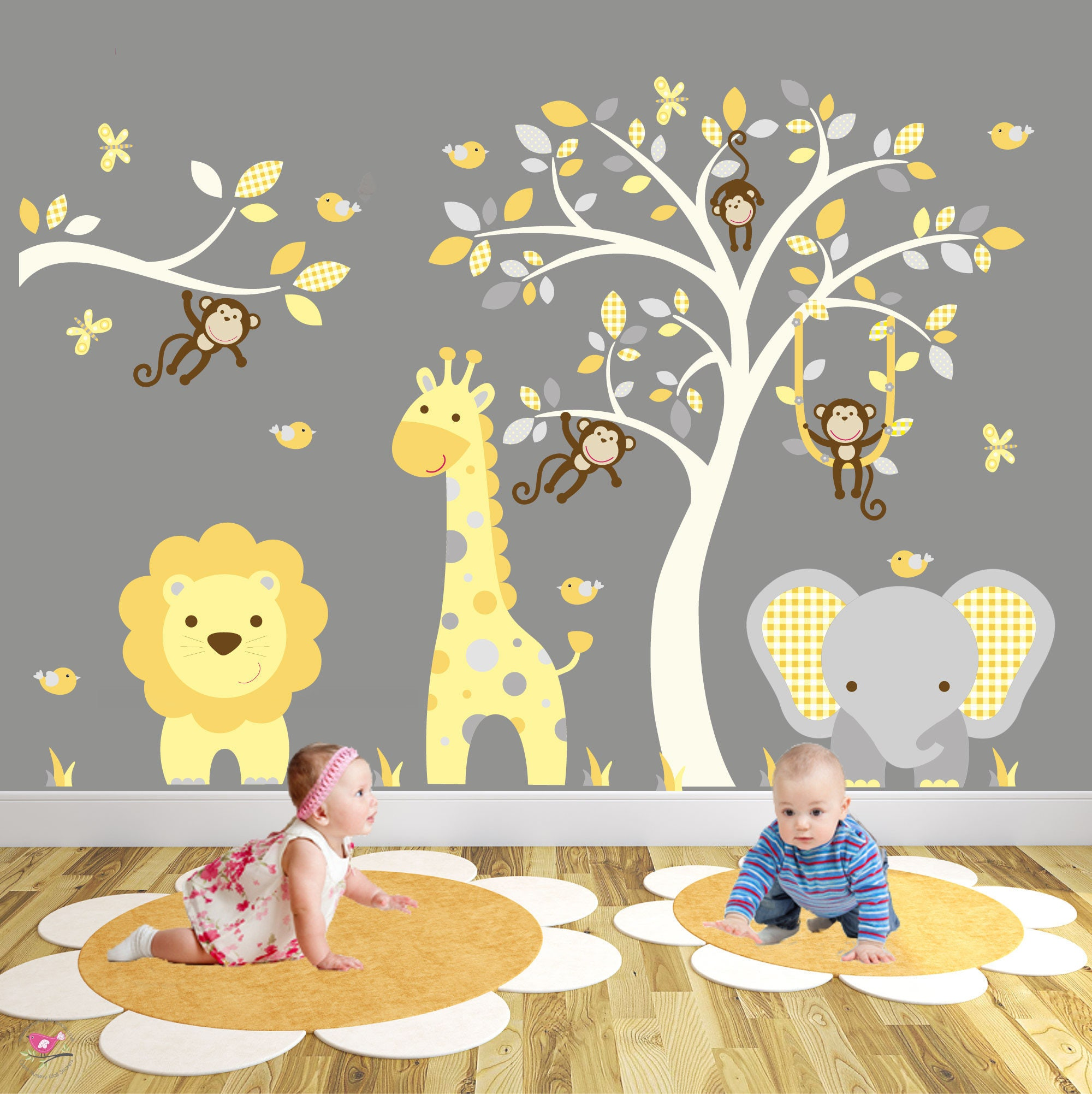 Safari Decal Mustard Yellow & Grey nursery decor. Monkeys | Etsy