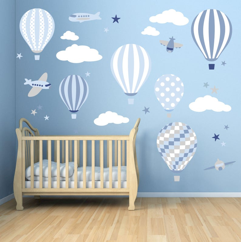 Baby Boys Wall Stickers Hot Air Balloon Decals Planes White Etsy