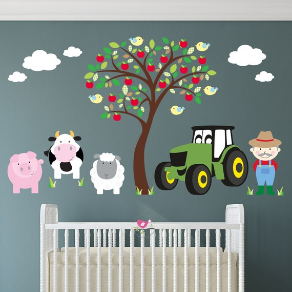 farm wall decal tractor wall stickers brown apple tree | etsy