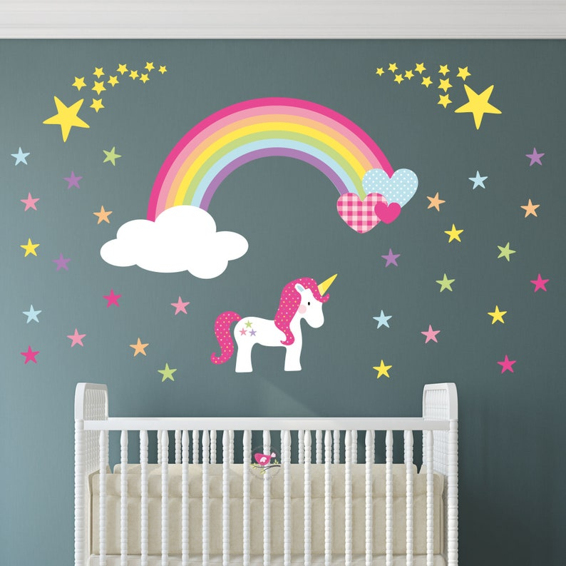 2628e961a8 Rainbow Unicorn Decal Shooting Star Wall Stickers Baby Girls | Etsy
