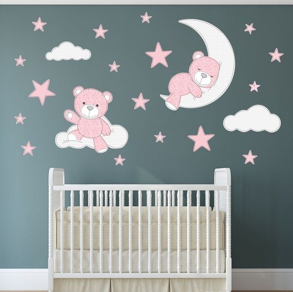 teddy bear decal nursery wall stickers stars clouds and moon | etsy