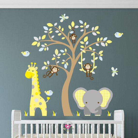 Jungle Decal Boys Safari Wall Stickers Yellow Blue And Grey Etsy
