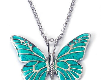 Butterfly Necklace, 925 Sterling Silver Pendant with Handmade Turquoise Polymer Clay, Nature Jewelry, Monarch Butterfly, Inspirational Gift