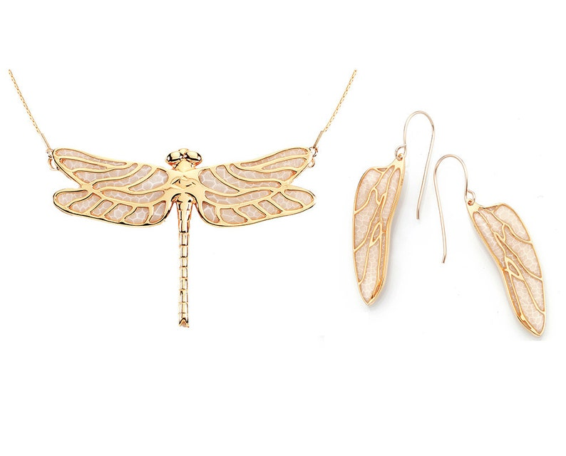 Dragonfly Necklace And Wing Dangle Earrings Gold Plated Etsy