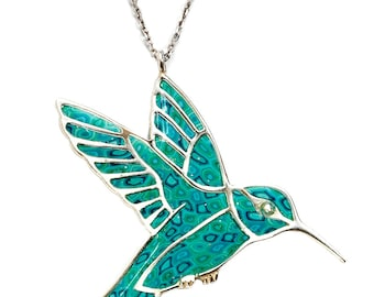 """Hummingbird Necklace – 925 Sterling Silver Handmade Pendant with Turquoise Polymer Clay - 16.5"""" Chain"""